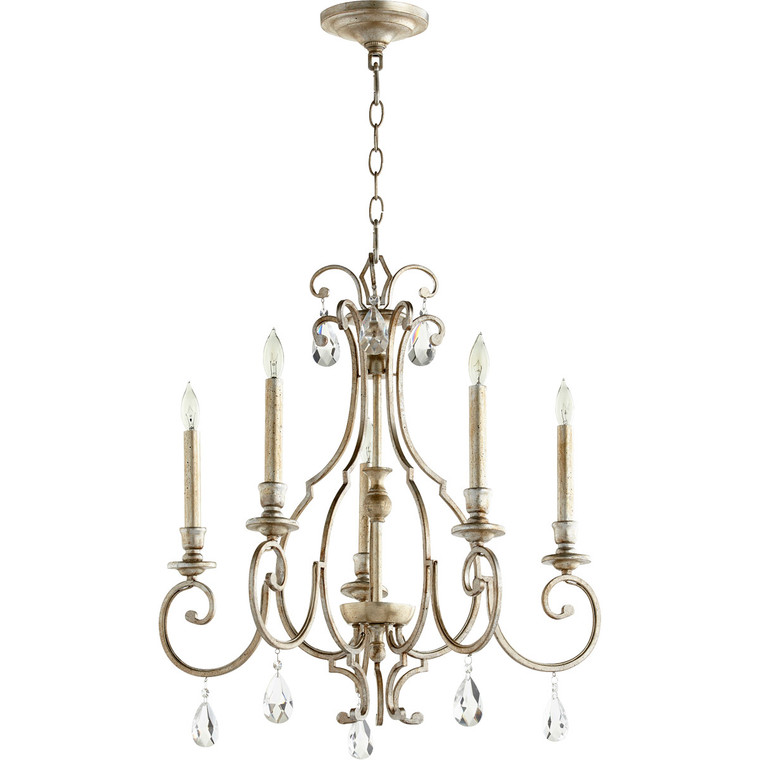 Quorum Ansley Chandelier in Aged Silver Leaf 6014-5-60