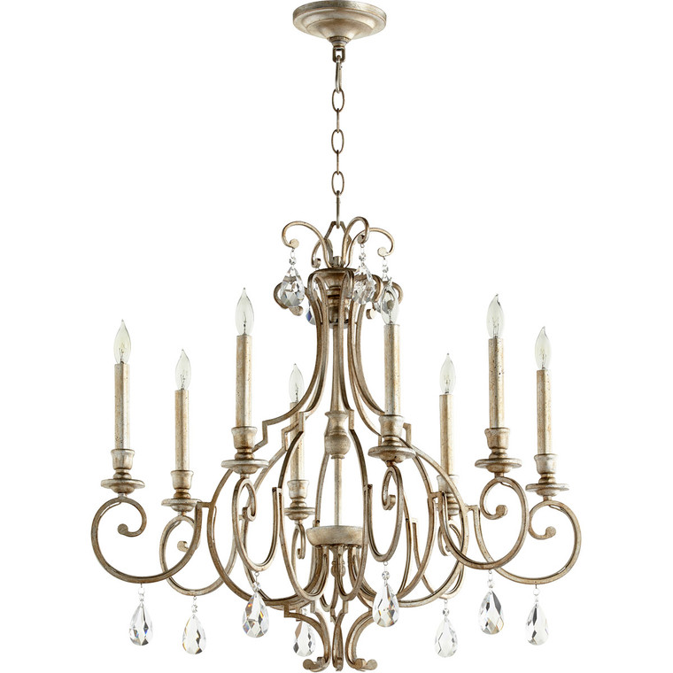 Quorum Ansley Chandelier in Aged Silver Leaf 6014-8-60