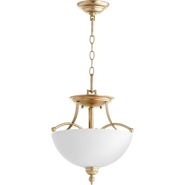Quorum Aspen Dual Mount in Aged Silver Leaf with Satin Opal 2877-14-60