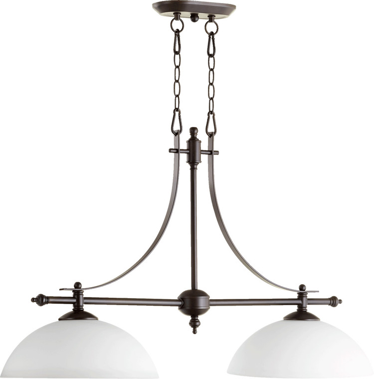 Quorum Aspen Island Light in Oiled Bronze with Satin Opal 6577-2-186