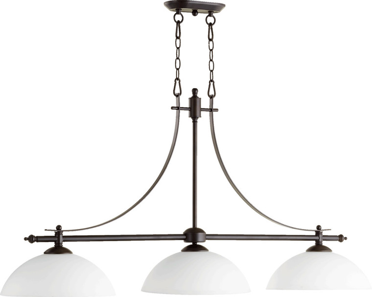 Quorum Aspen Island Light in Oiled Bronze with Satin Opal 6577-3-186