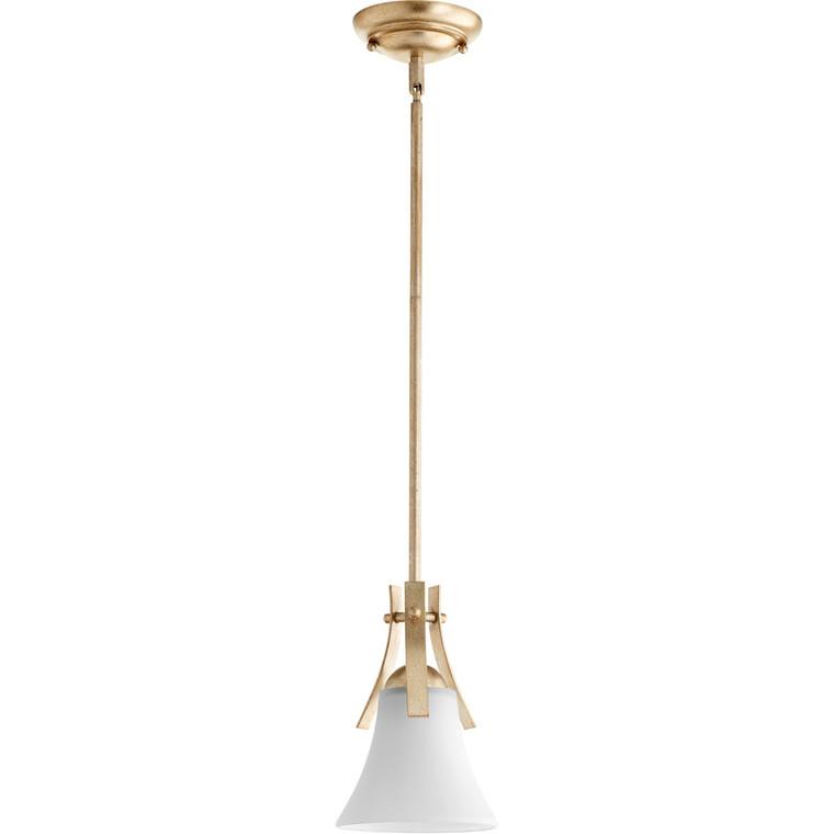 Quorum Aspen Pendant in Aged Silver Leaf with Satin Opal 3177-60