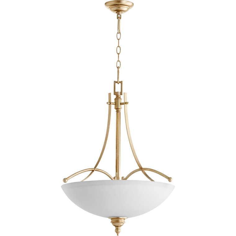 Quorum Aspen Pendant in Aged Silver Leaf with Satin Opal 8177-4-60
