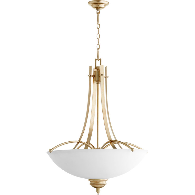 Quorum Aspen Pendant in Aged Silver Leaf with Satin Opal 8177-5-60