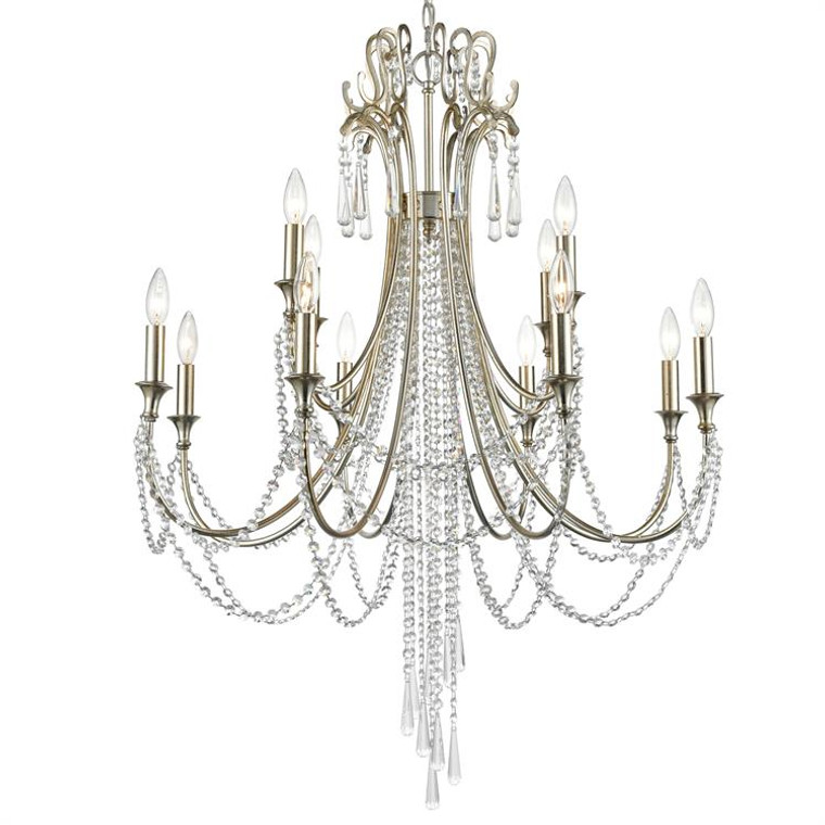 Crystorama Arcadia 12 Light Antique Silver Chandelier ARC-1909-SA-CL-MWP