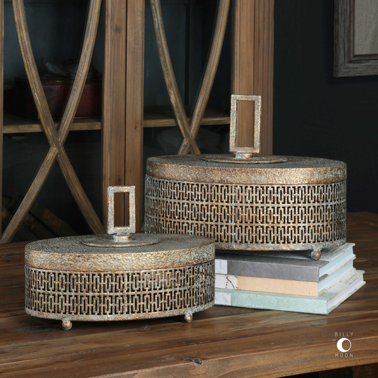 Uttermost Agnese Antiqued Gold Boxes, Set Of 2 18758