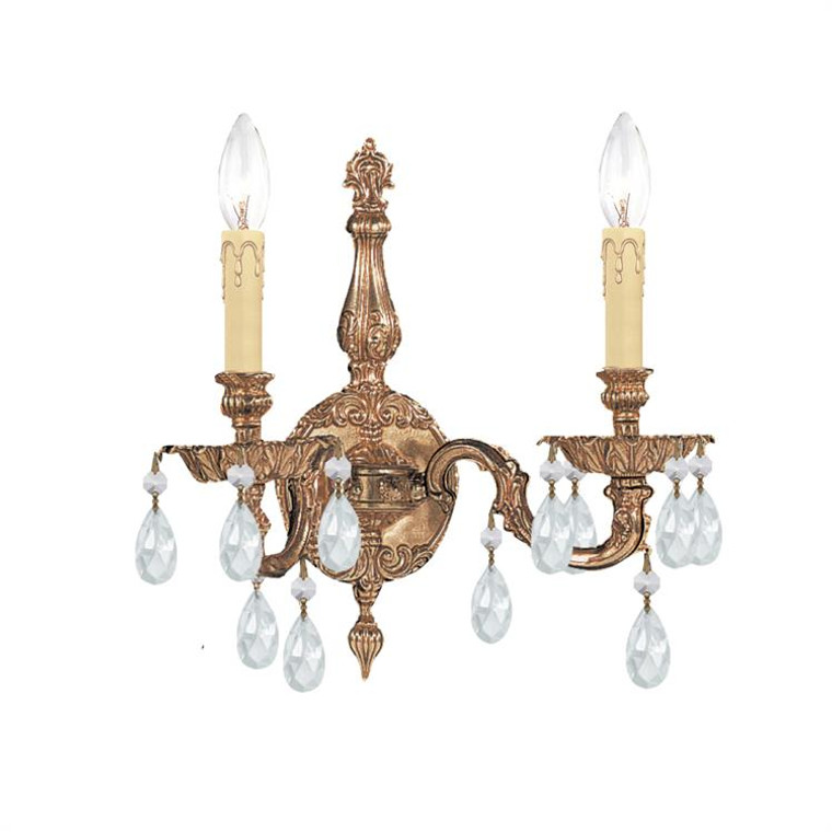 Crystorama 2 Light Clear Crystal Olde Brass Sconce 2502-OB-CL-MWP