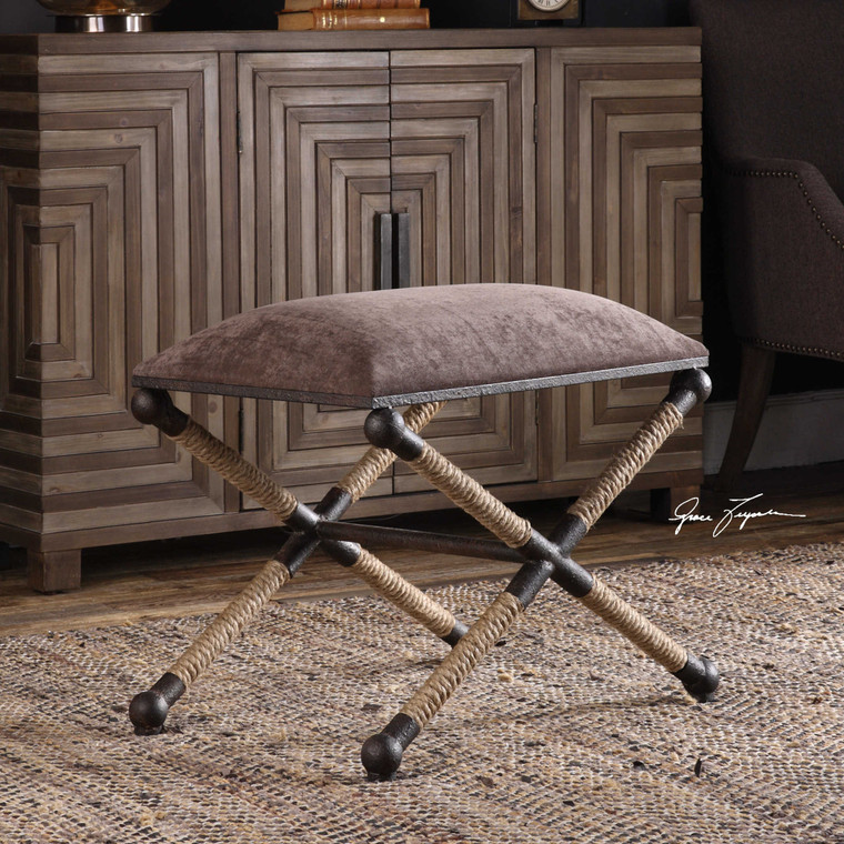 Uttermost Evert Taupe Brown Accent Stool 23398