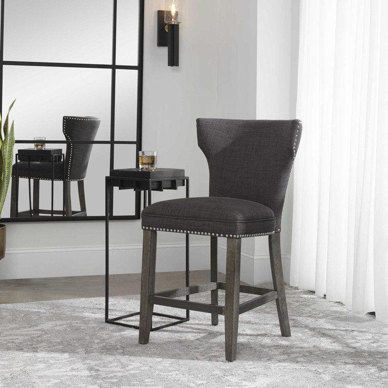 Uttermost Arnaud Charcoal Counter Stool 23433