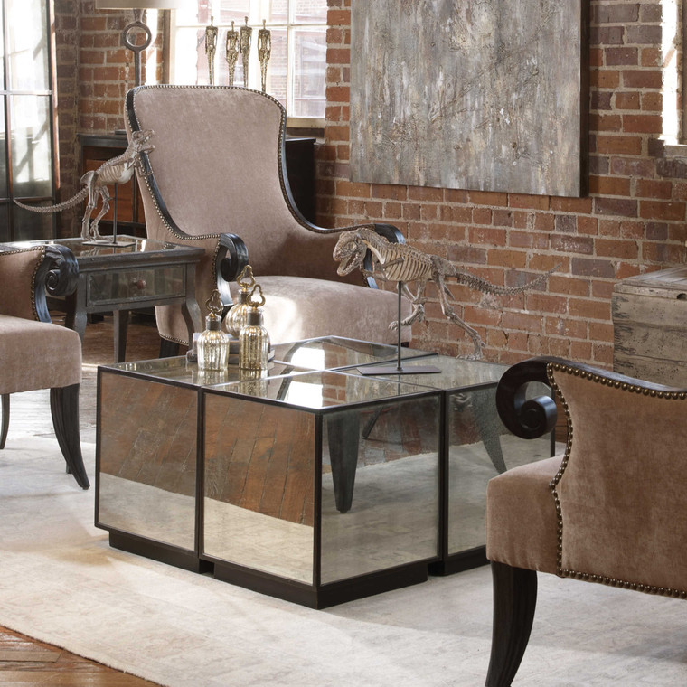 Uttermost Matty Mirrored Cube Table 24091