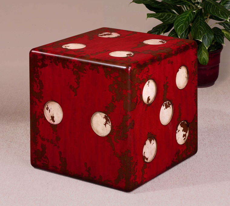 Uttermost Dice Red Accent Table 24168