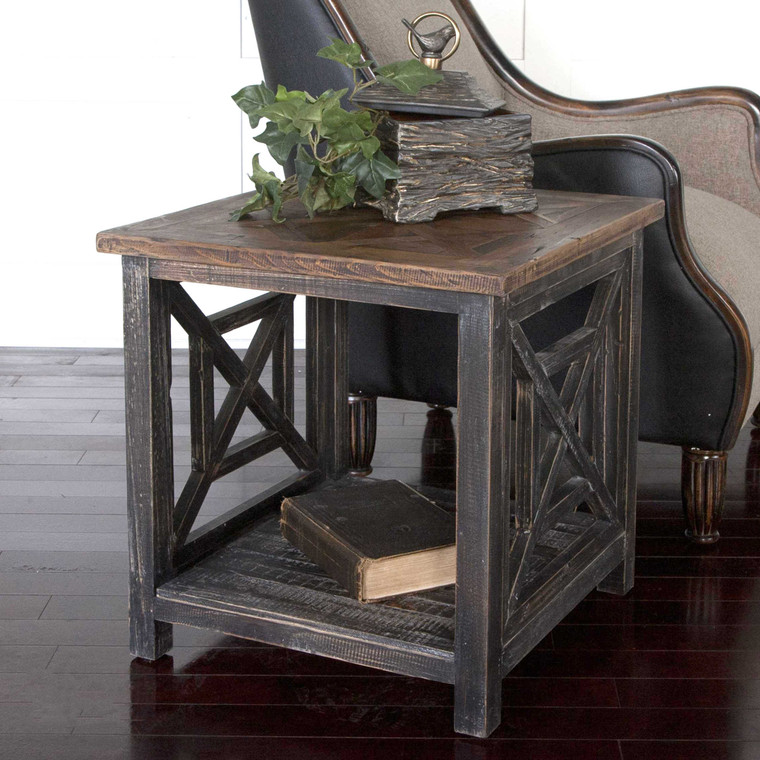 Uttermost Spiro Reclaimed Wood End Table 24263
