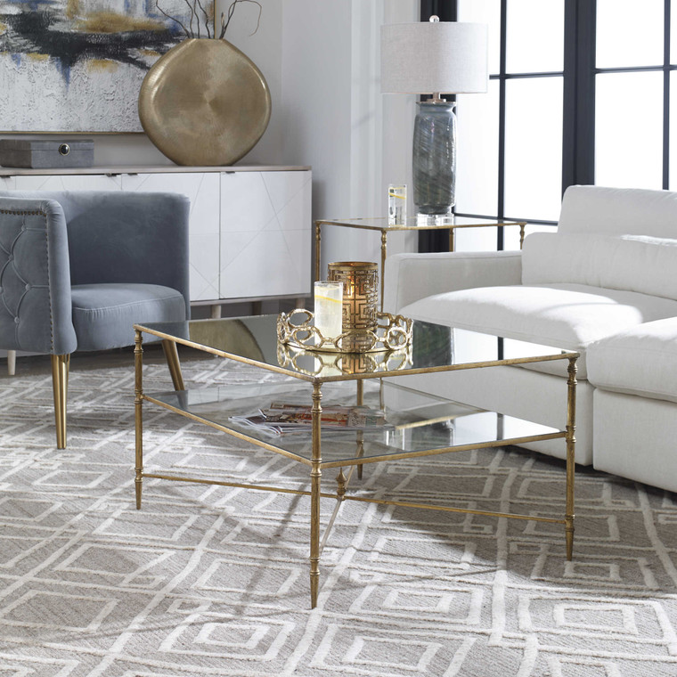 Uttermost Henzler Mirrored Glass Coffee Table 24276
