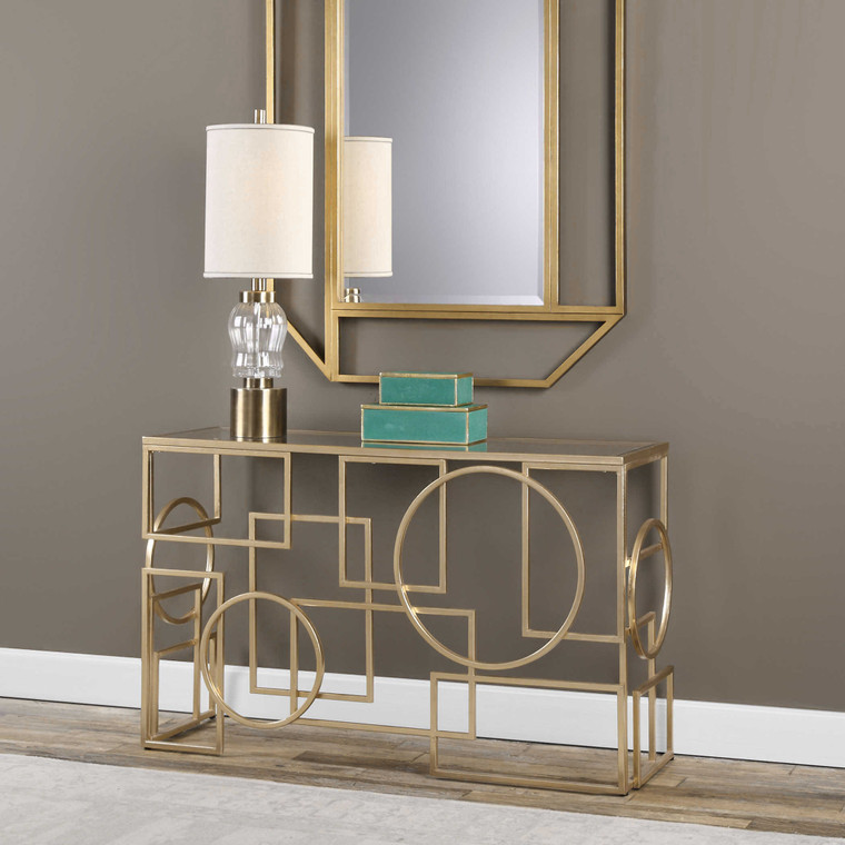 Uttermost Metria Gold Console Table 24708