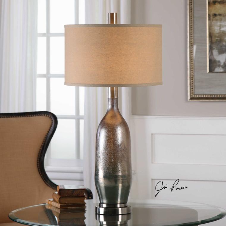 Uttermost Basola Olive Gray Glass Table Lamp 27507