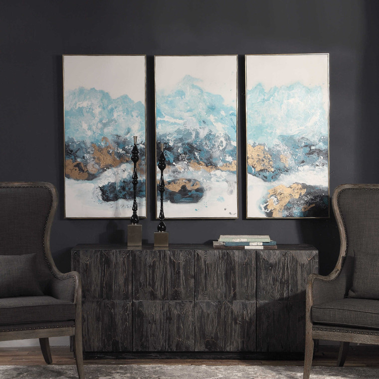 Uttermost Crashing Waves Abstract Art, S/3 34370