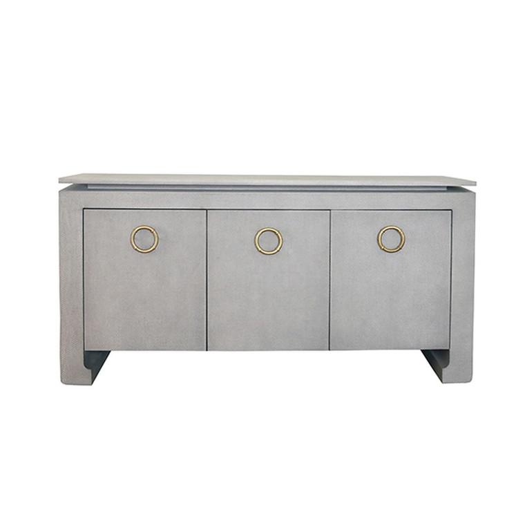 Worlds Away Tilley Buffet Cabinet in Grey Grasscloth TILLEY GRY
