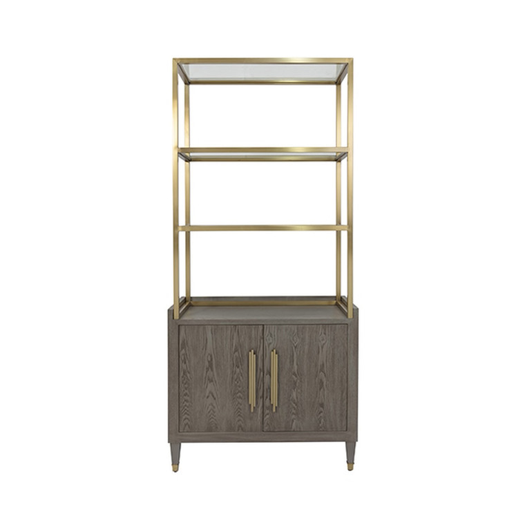 Worlds Away Rivaa Etagere in Grey and Brushed Brass RIVAA SG