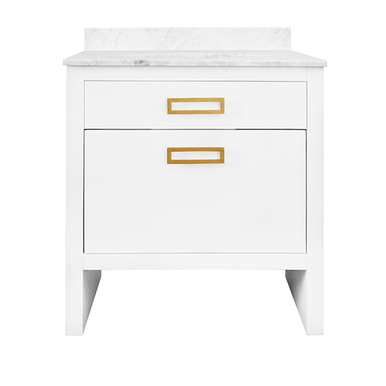 Worlds Away Seth Bath Vanity in Matte White Lacquer with Antique Brass Hardware SETH WH
