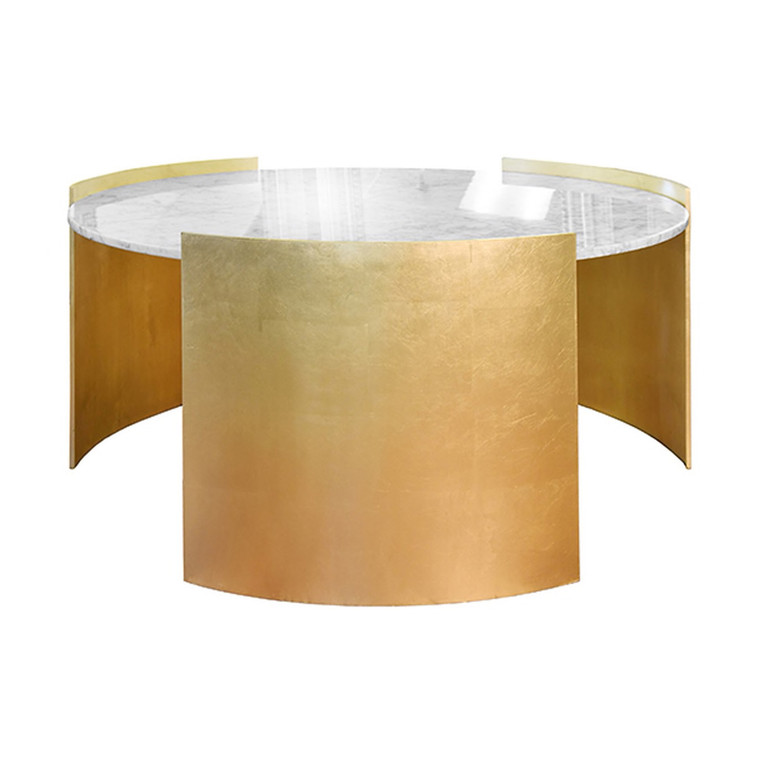 Worlds Away Montana Round Coffee Table with Marble Top in Gold Leaf MONTANA G