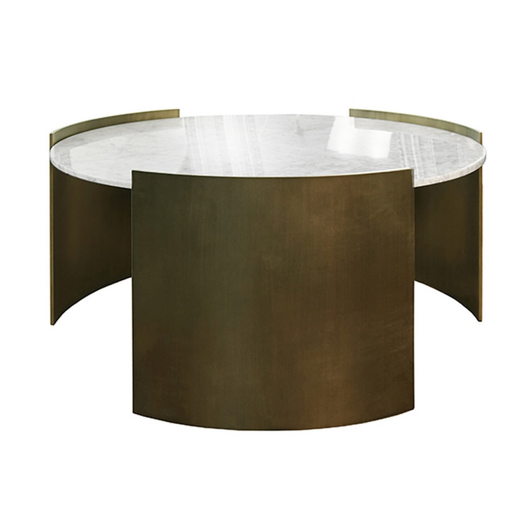 Worlds Away Montana Round Coffee Table with Marble Top in Painted Bronze MONTANA BRZ