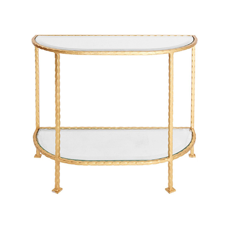 Worlds Away Louis Side Table with Curved Edges in Gold Leaf  LOUIE G