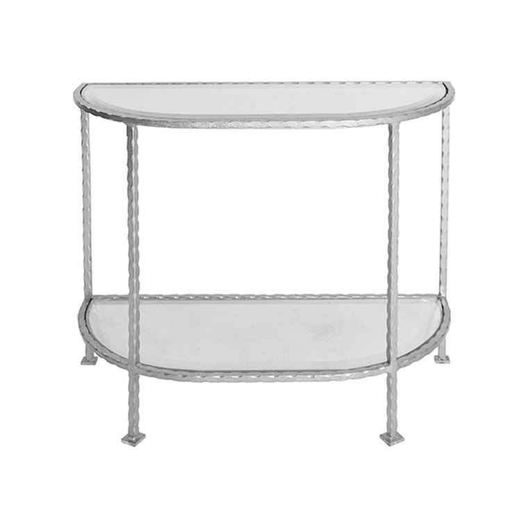 Worlds Away Louis Side Table with Curved Edges in Silver Leaf  LOUIE S