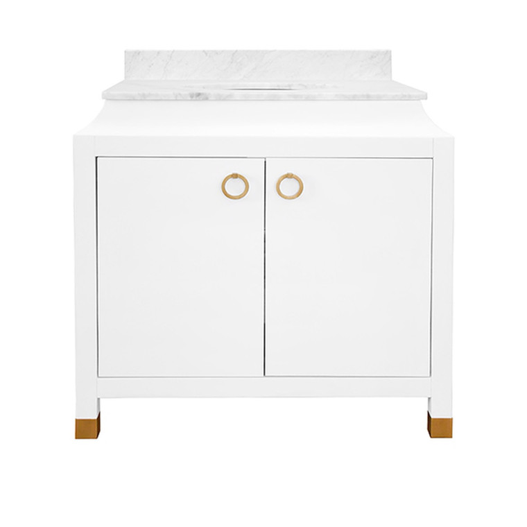 Worlds Away Bree Bath Vanity in Matte White Lacquer with Antique Brass Hardware BREE WH