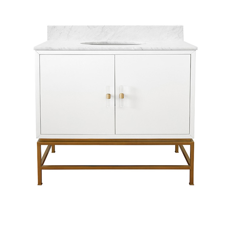 Worlds Away Clifford Bath Vanity in Matte White Lacquer with Antique Brass Hardware CLIFFORD WH