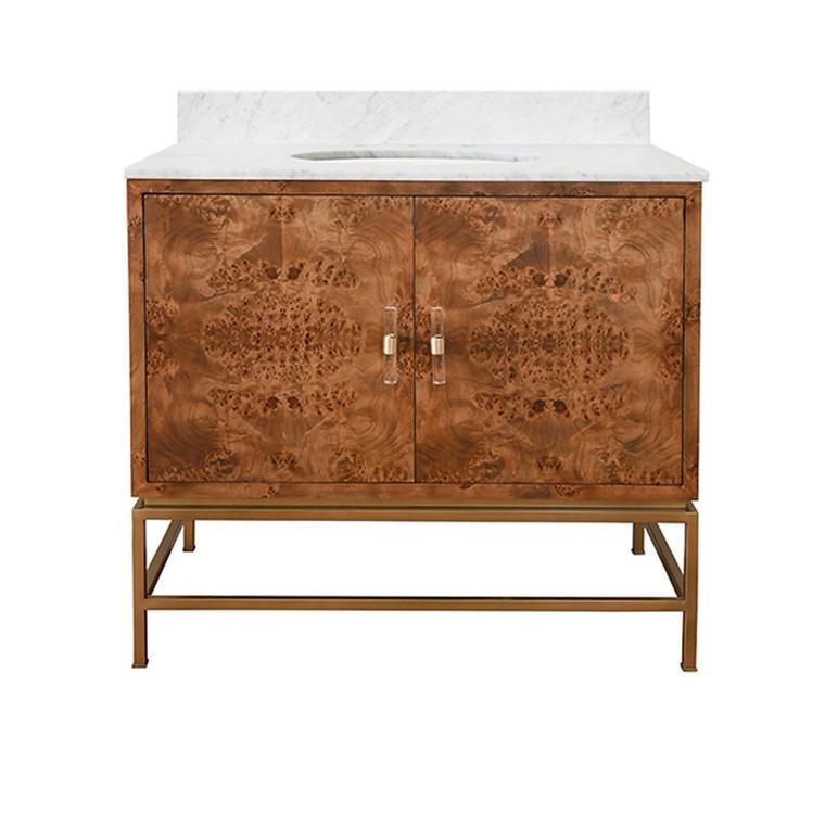 Worlds Away Clifford Bath Vanity in Matte Dark Burl Wood with Antique Brass Hardware CLIFFORD DBW