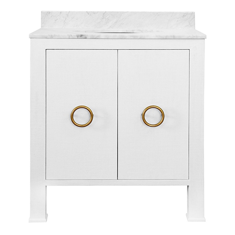 Worlds Away Blanche Bath Vanity in Textured White Linen with Antique Brass Hardware BLANCHE WH