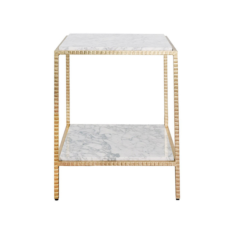 Worlds Away Brandy Square Side Table in Gold Leaf and White Marble Top BRANDY G