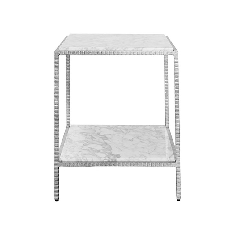 Worlds Away Brandy Square Side Table in Silver Leaf and White Marble Top BRANDY S