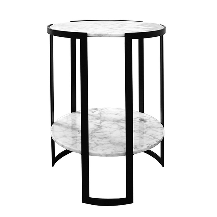 Worlds Away Edgar Side Table with Marble Tops in Black EDGAR BLK