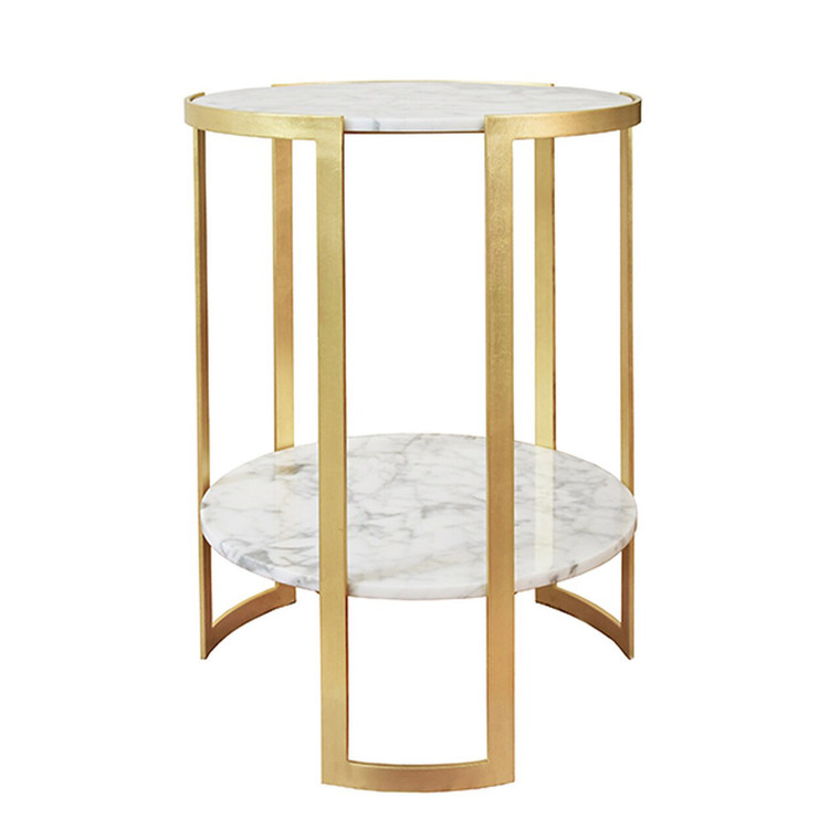 Worlds Away Edgar Side Table with Marble Tops in Gold Leaf EDGAR G