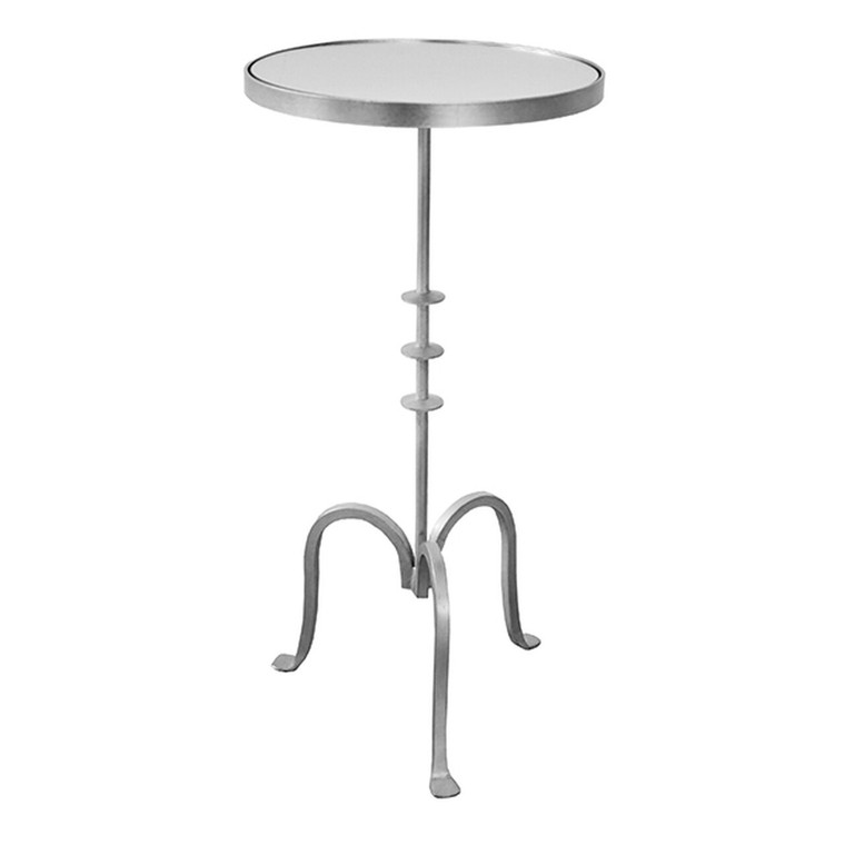 Worlds Away Bessie Round Cigar Table with Mirror Top in Silver Leaf BESSIE S
