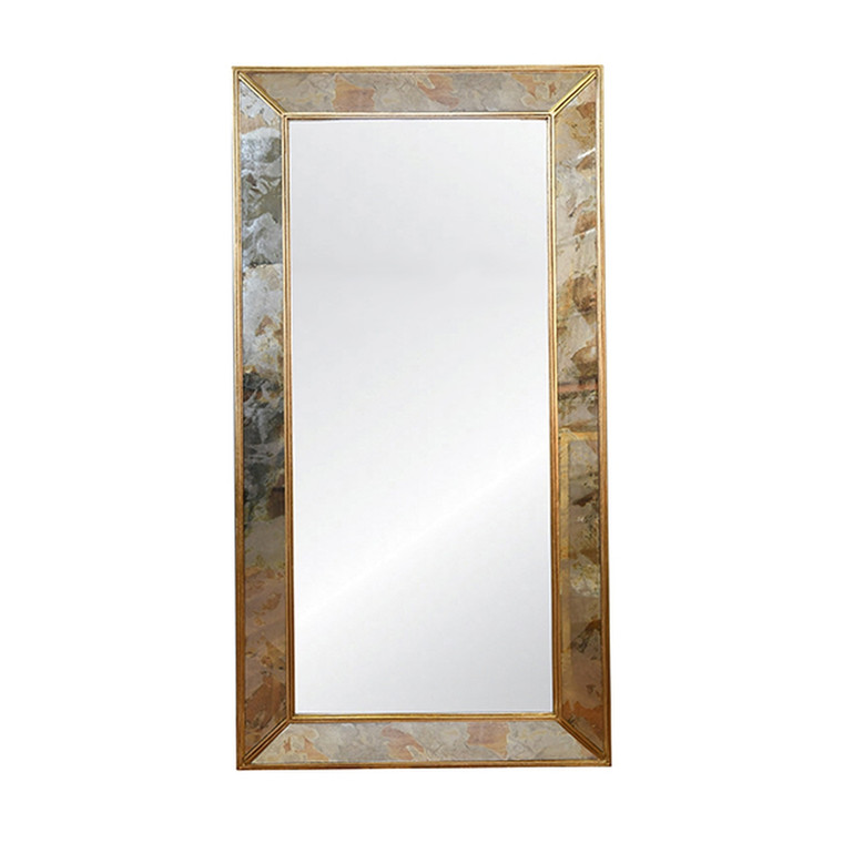 Worlds Away Dion Antiqued Floor Mirror with Gold Leaf Edging  DION GL