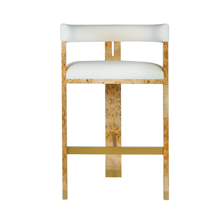 Worlds Away Connery Modern Burl Wood Bar Stool with White Linen Upholstery CONNERY BW