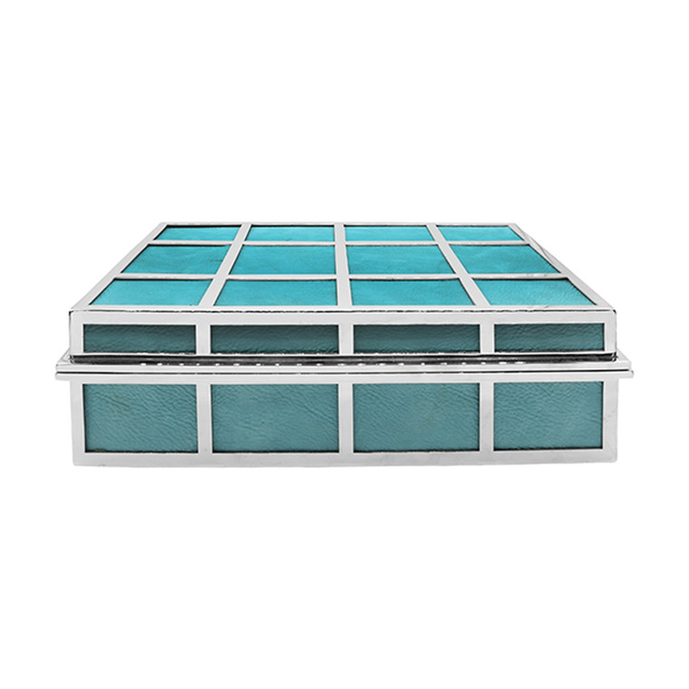 Worlds Away Percy Rectangle Box in Turquoise Leather with Nickel Detail PERCY TURQ