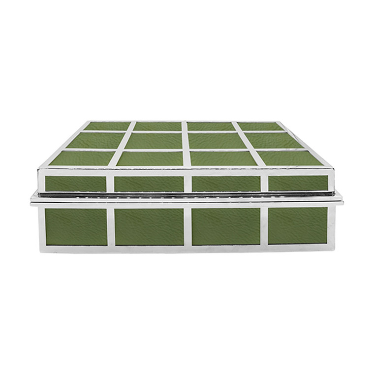 Worlds Away Percy Rectangle Box in Green Leather with Nickel Detail PERCY GR