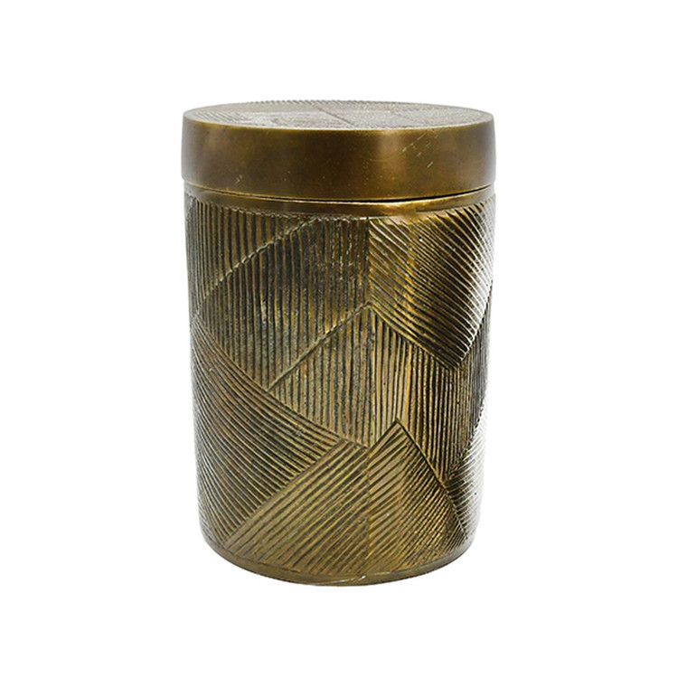 Worlds Away Paco Large Hand Crafted Decorative Canister in Antique Brass PACO LG