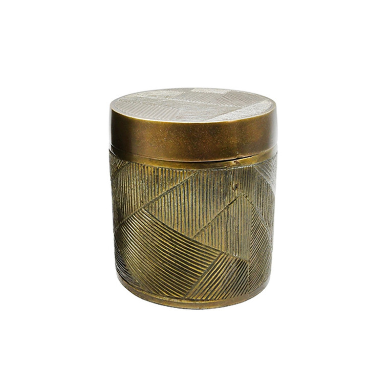 Worlds Away Paco Small Hand Crafted Decorative Canister in Antique Brass PACO SM