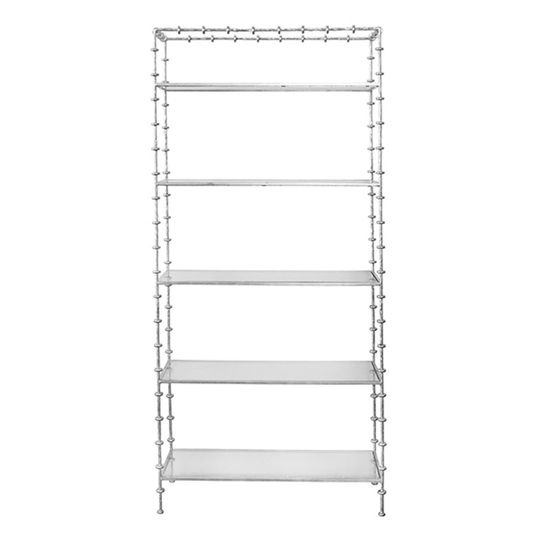Worlds Away Addie Etagere with Ring Detail in Silver Leaf ADDIE S