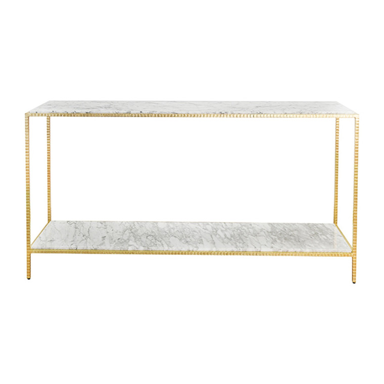 Worlds Away Agnes Large Console Table with White Marble Top in Hammered Gold Leaf AGNES G