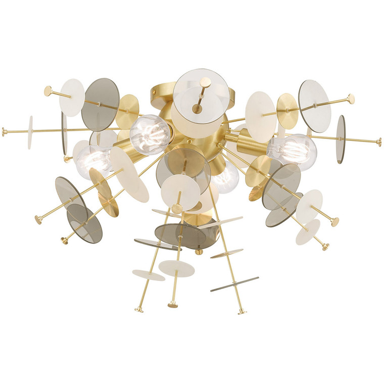Livex Lighting Circulo Collection 4 Lt Satin Brass Ceiling Mount in Satin Brass 40070-12