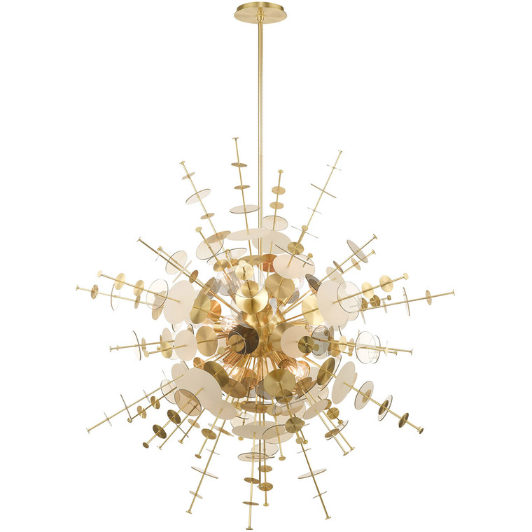 Livex Lighting Circulo Collection 12 Lt Satin Brass Grand Foyer Pendant Chandelier in Satin Brass 40079-12