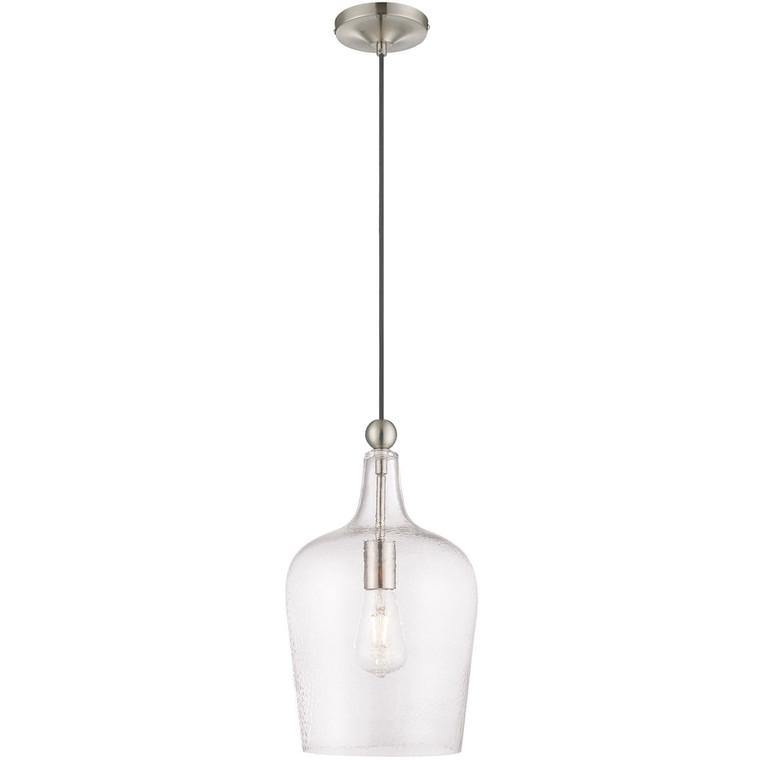 Livex Lighting Art Glass Mini Pendants Collection 1 Lt Brushed Nickel Mini Pendant in Brushed Nickel 41237-91