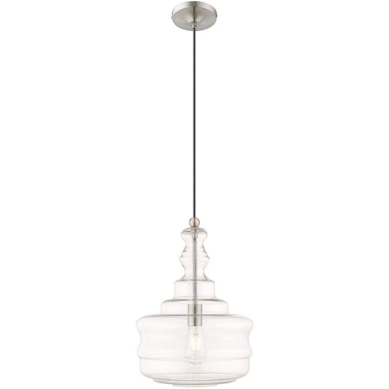 Livex Lighting Art Glass Mini Pendants Collection 1 Lt Brushed Nickel Mini Pendant in Brushed Nickel 41239-91