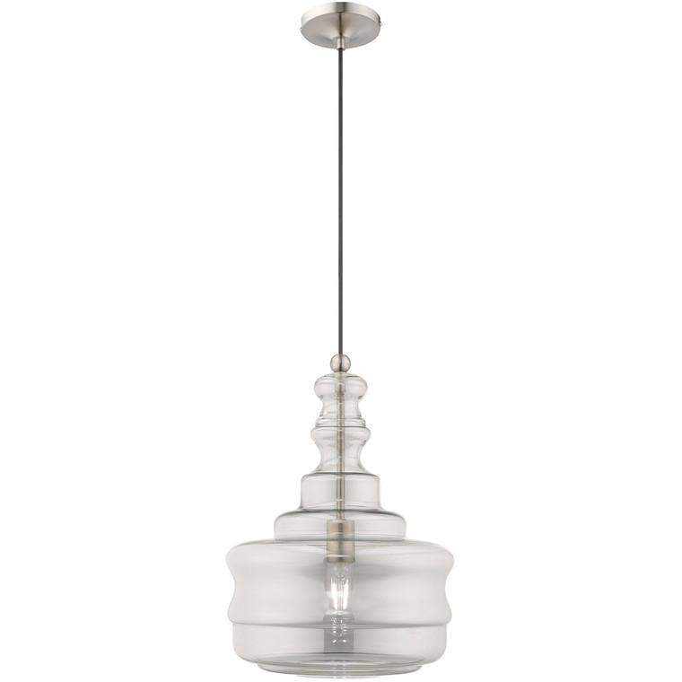 Livex Lighting Art Glass Mini Pendants Collection 1 Lt Brushed Nickel Mini Pendant in Brushed Nickel 41246-91