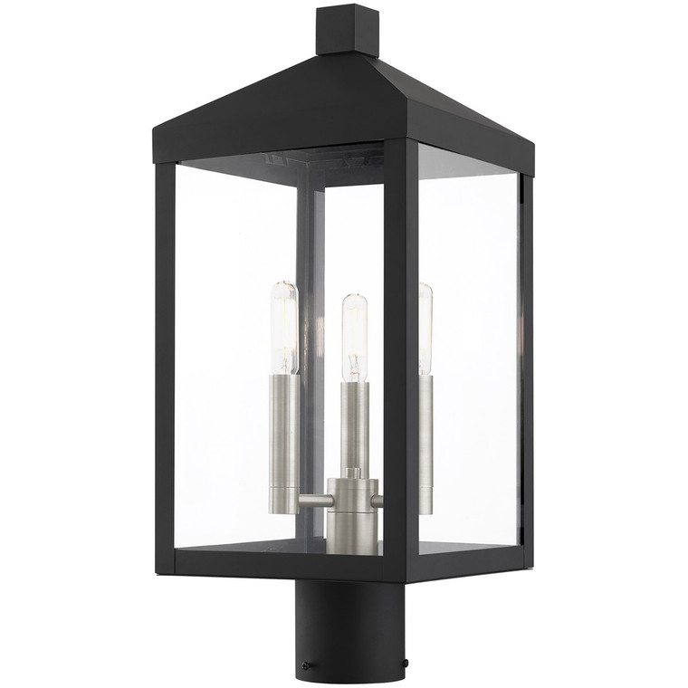 Livex Lighting Nyack Collection 3 Lt Black Outdoor Post Top Lantern in Black with Brushed Nickel Cluster 20592-04